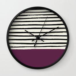 Plum x Stripes Wall Clock
