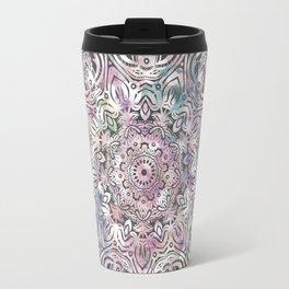Dreams Mandala - Magical Purple on Gray Travel Mug