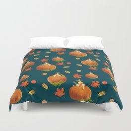 Lady Pumpkin for Halloween Pattern Duvet Cover