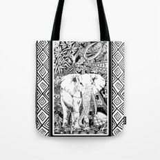 White Elephant Indian Ink Tribal Art Tote Bag