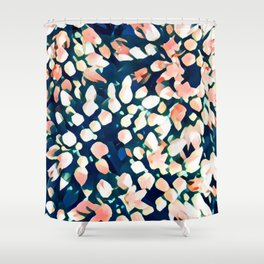 Pink buds on blue Shower Curtain