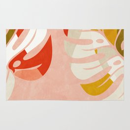 shapes leave minimal abstract art Rug