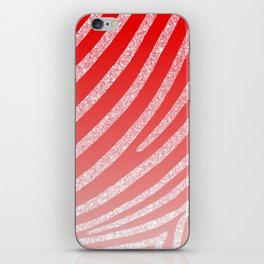 Pink Red Ombre Zebra Stripe Glitter iPhone Skin