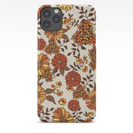 Retro 70s boho hippie orange flower power iPhone Case