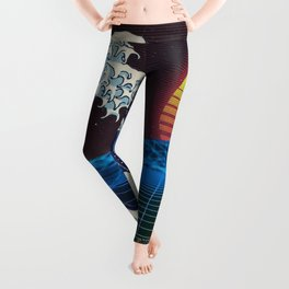 Synthwave Space #9: The Great Wave off Kanagawa Leggings