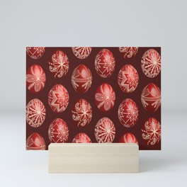 Realistic easter red dyed eggs pysanka Mini Art Print