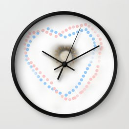 Pastel hearts Wall Clock