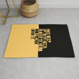 Knee Deep. Up To My Neck. In Over My Head. Yellow-black Rug
