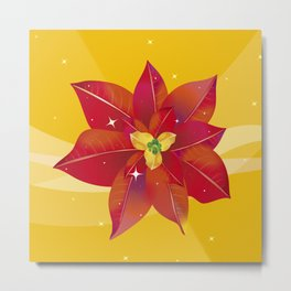 Beautiful Red Poinsettia with Stars - Happy Holiday Season Metal Print
