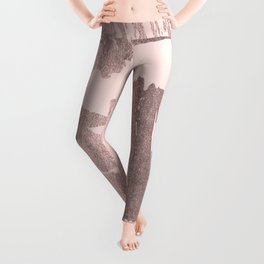 Rose Gold Pastel Pink Paint Brush Leggings