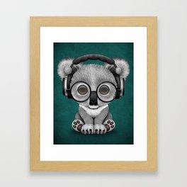 Cute Baby Koala Bear Dj Wearing Headphones on Blue Framed Art Print