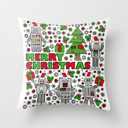 Merry Christmas Robots Throw Pillow
