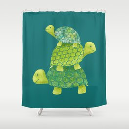Turtle Stack Family in Teal and Lime Green Shower Curtain