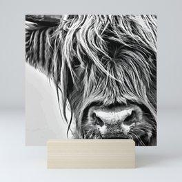 Black and White Highland Cow Mini Art Print