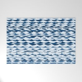 Glitch Waves - Classic Blue Welcome Mat