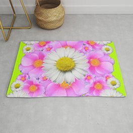 Chartreuse Green Color Shasta Daisies & Rose Pattern Rug