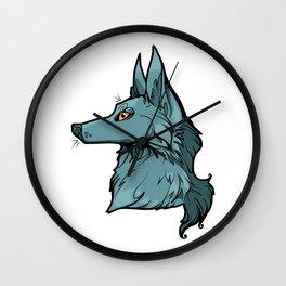 Green Wolf Wall Clock