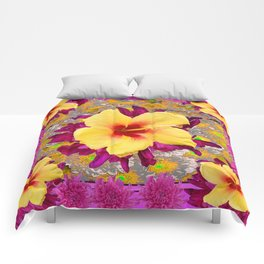 Decorative Golden Yellow Red Tropical Hibiscus Patterns Comforters