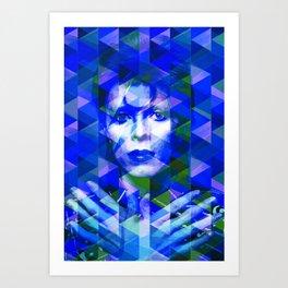 Bowie geometric blue Art Print