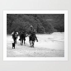 3 Horses, 1 Dog, 1 Man on a Beach Art Print