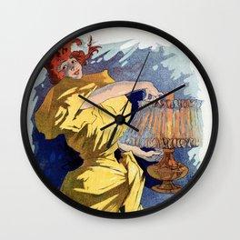 Kerosene oil  by Jules Cheret Wall Clock