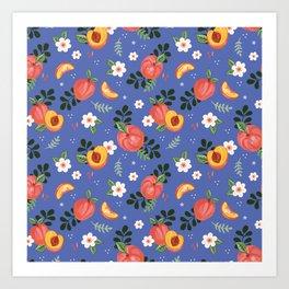 Peaches on Blue Art Print