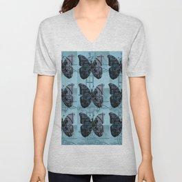 High Tech Butterflies (blue) Unisex V-Neck