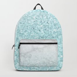She Sparkles - Turquoise Sea Glitter Marble Backpack