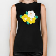 Japanese Style Camellia - Yellow and Black Biker Tank