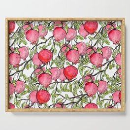Pomegranate branches watercolor Serving Tray