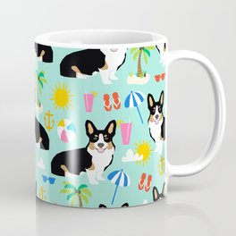 Tricolored Corgi Beach Day - cute tri corgi beach summer sun pattern Coffee Mug