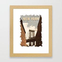 New York City / Vintage Retro art style poster Framed Art Print
