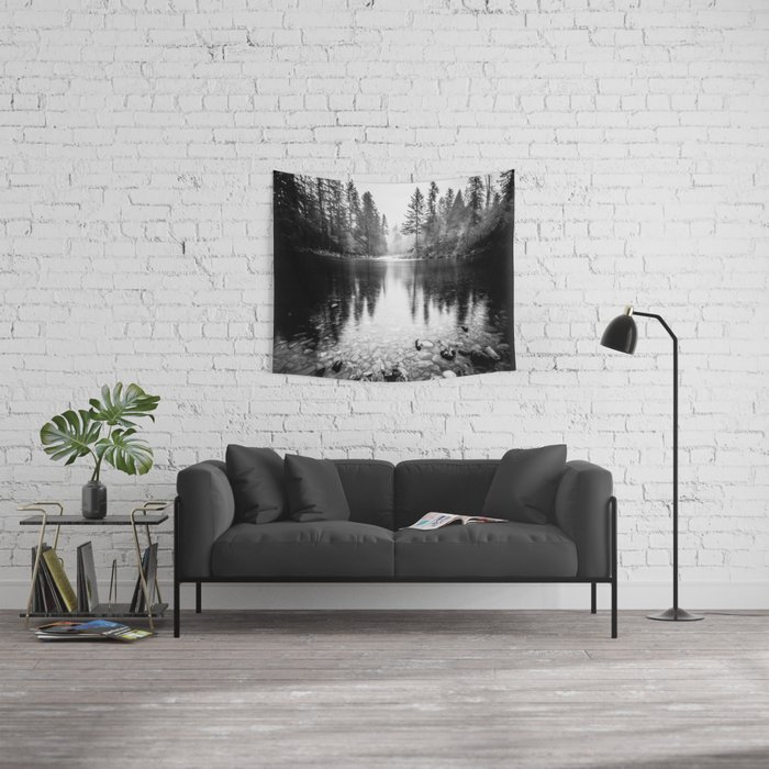 Forest Reflection Lake - Black and White  - Nature Photography Wall Tapestry