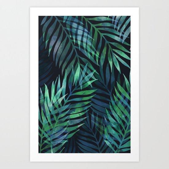 Dark green palms leaves pattern Art Print