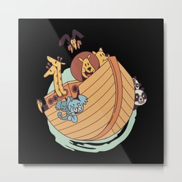 Noahs ark with cute cartoon animals Metal Print