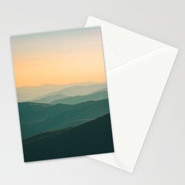 Landscape Photography Teal Turquoise Green Parallax Mountains Hills Orange Sunset Sky Minimalist Pho Stationery Cards