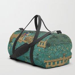 Vintage Japanese Woodblock Print Kawase Hasui Japanese Children Lotus Flowers Garden Wooden Bridge Duffle Bag
