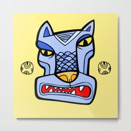 Blue totem wolf Metal Print