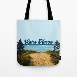 Lake Huron Retro Tote Bag