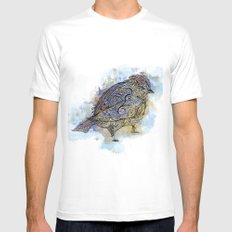 watercolor sparrow MEDIUM White Mens Fitted Tee