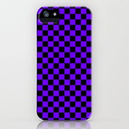 Black and Indigo Violet Checkerboard iPhone Case