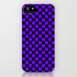 Black and Indigo Violet Checkerboard iPhone Case