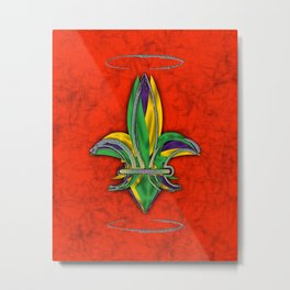 Fleur de Lis - Mardi Gras Colors Metal Print
