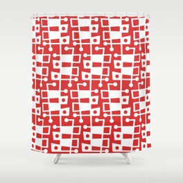 Mid Century Modern Abstract 213 Red Shower Curtain