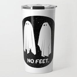 No Feet Ghosts Black and White Graphic Travel Mug