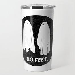 No Feet Ghosts Black and White Graphic Travel Mug