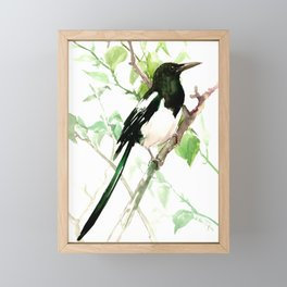 Magpie Bird, magpie Framed Mini Art Print