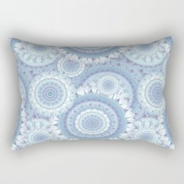 Delicate Ice Blue Mandala Pattern Rectangular Pillow