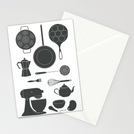 Kitchen Tools (black on white) Stationery Cards