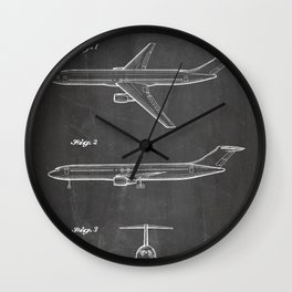Boeing 777 Airliner Patent - 777 Airplane Art - Black Chalkboard Wall Clock